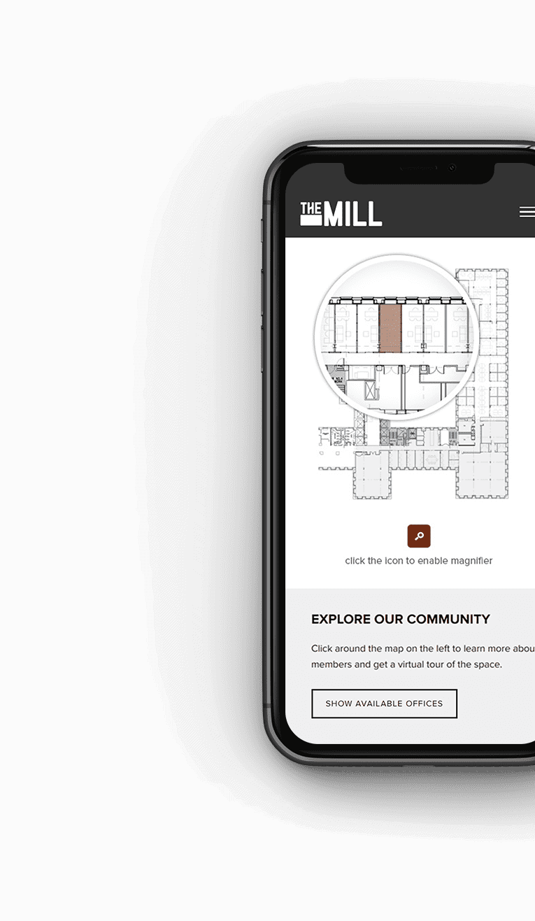 Screenshot of The Mill website on a mobile