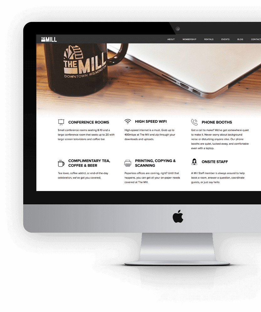 Screenshot of The Mill website homepage featuring the services offered
