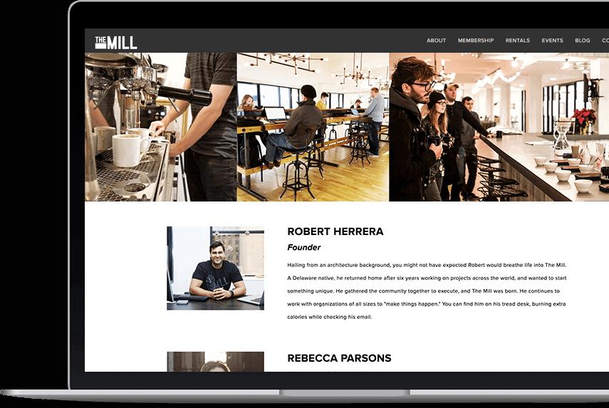 Screenshot of The Mill website homepage