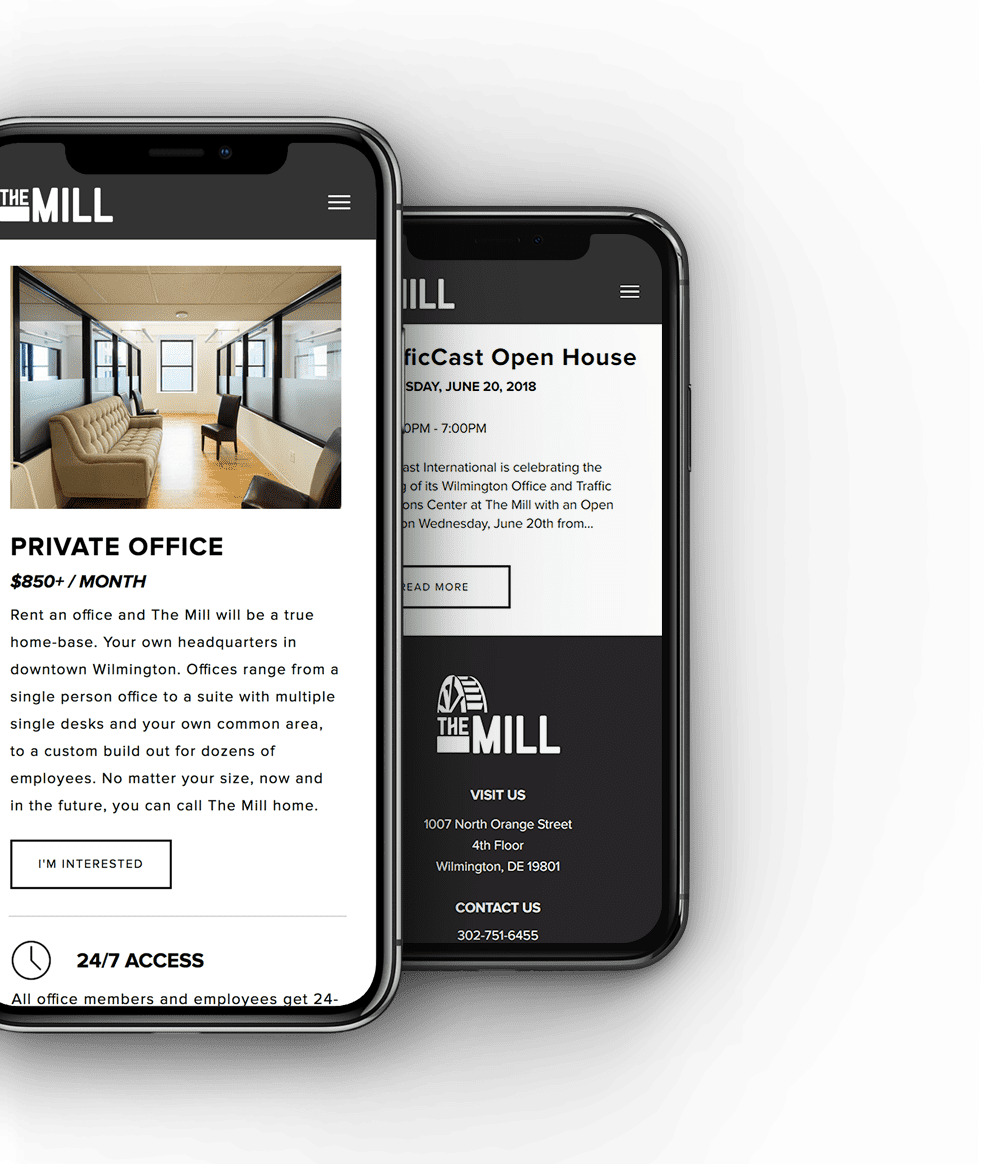 Screenshot of The Mill website on a mobile phone