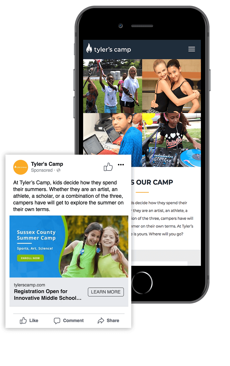 Screenshot of Tyler's Camp website and Facebook Ad on a mobile