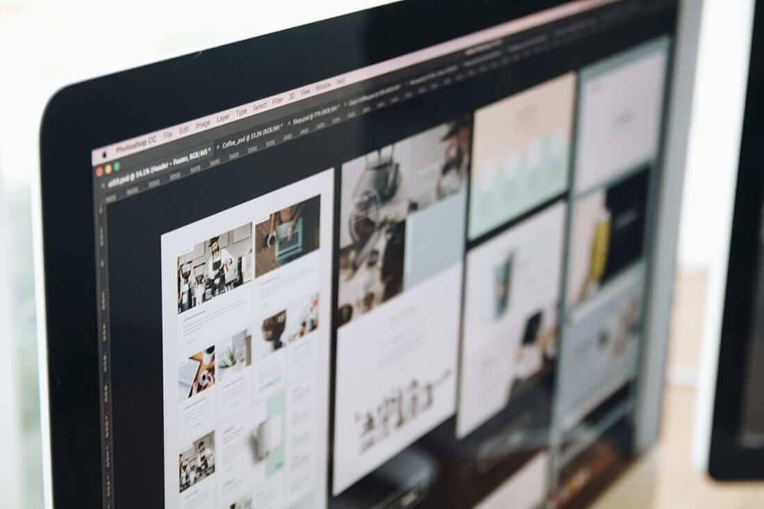 Website screenshots on a computer