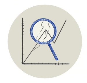 Magnifying glass looking at a line graph