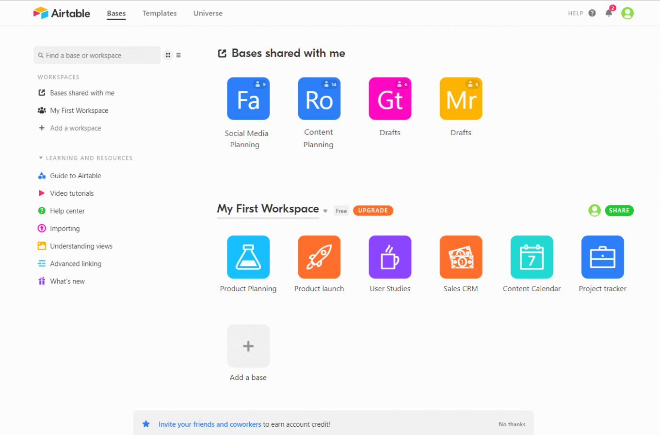 AirTable dashboard with icons to redirect to specific spreadsheets.