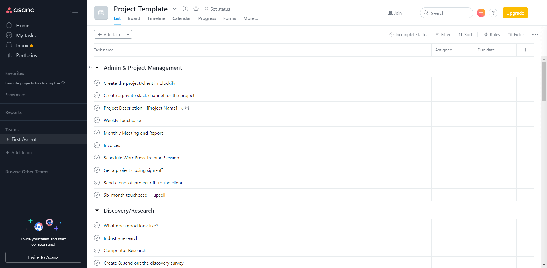 Image of a project template in Asana. Various tasks and project groups are listed from top to bottom.