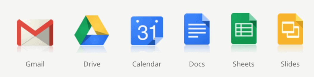 Google app icons. From left to right, GMail icon, Google Drive icon, Calender icon, Docs icon, Sheets icon, and Slides icon.