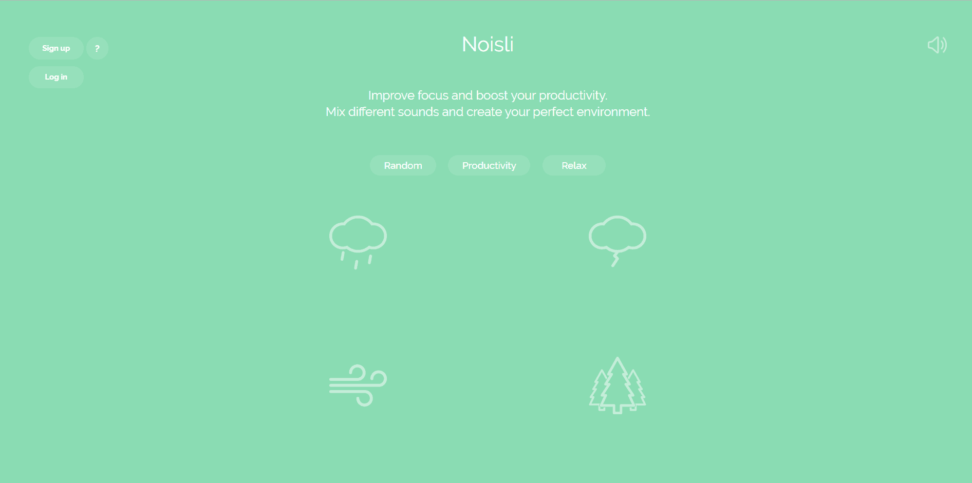 Noisli homepage. Options are given for different types of sounds. Icons include a rain cloud, thunder bolt, wind, or trees.