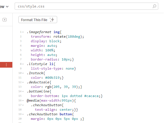 CSS stylesheet with lines of code. No spaces in between blocks.