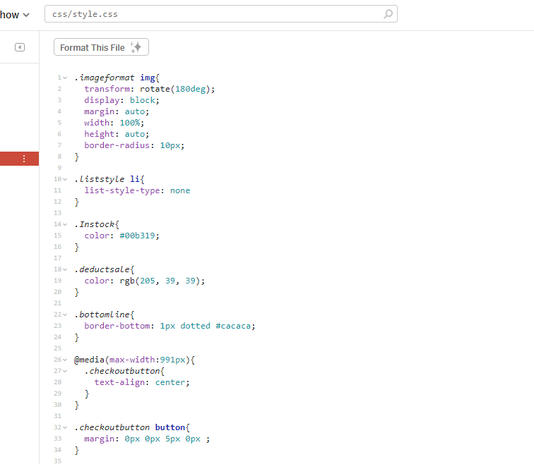 CSS stylesheet. Same code as before but with spaces in between blocks of code.