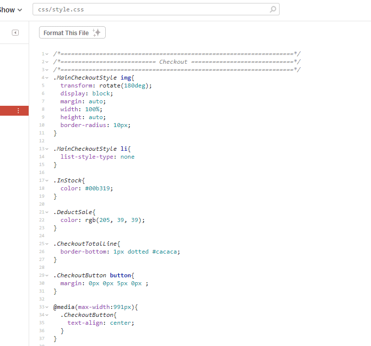 CSS stylesheet with a header above all the code. Spaces in between blocks and classes renamed to be more descriptive.