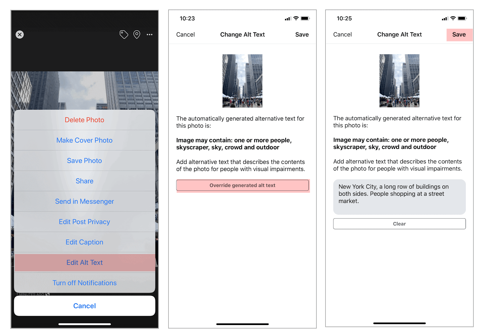Screen shots of an iPhone showing the steps on how to replace alt text to an image.
