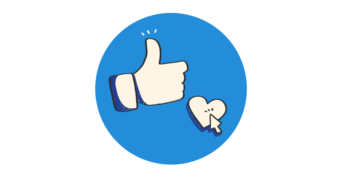 Facebook like button and a heart with a mouse cursor over it all surrounded by a blue circle.