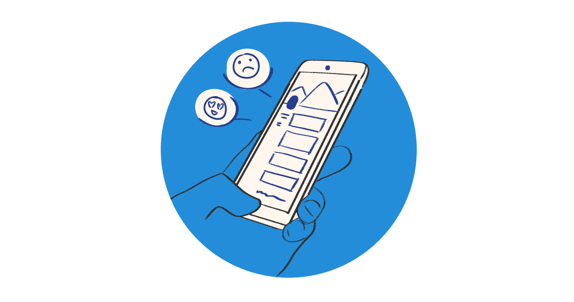 Hand holding phone surrounded by blue circle.